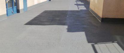 Impermeabilización con poliurea trafico peatonal patio comunitario en Valdemoro