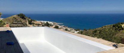 Rehabilitación e Impermeabilización de piscina en Mojacar.